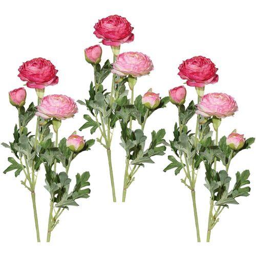 Kunstblume Ranunkel, Höhe 40 cm (6er Set), rosa