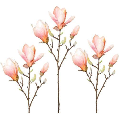Kunstblume Magnolie, Höhe 69 cm (3er Set), orange