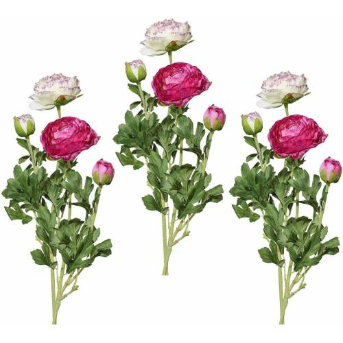 Kunstblume Ranunkel, Höhe 40 cm (6er Set), lila
