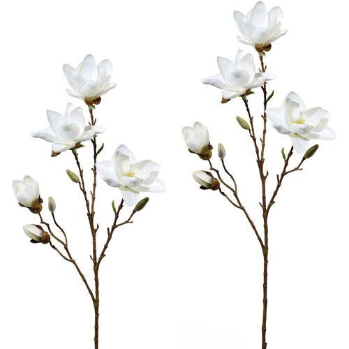 Kunstblume Magnolie, Höhe 79 cm (2er Set), weiß