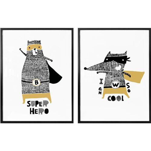 Poster »Superhelden«, (Set, 2 Stück)