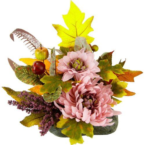 Kunstpflanze, Gesteck Chrysanthemen auf Stein