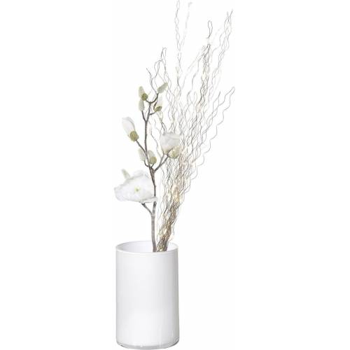 Kunstblume »Magnolie« (Set, 3 Stück), Deko-Set: LED-Leuchtzweig, Glasvase und Kunstzweig