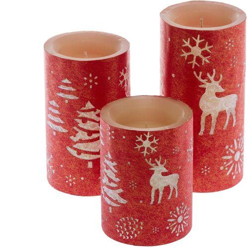 LED-Kerze (3-tlg), mit weihnachtlichem Motiv