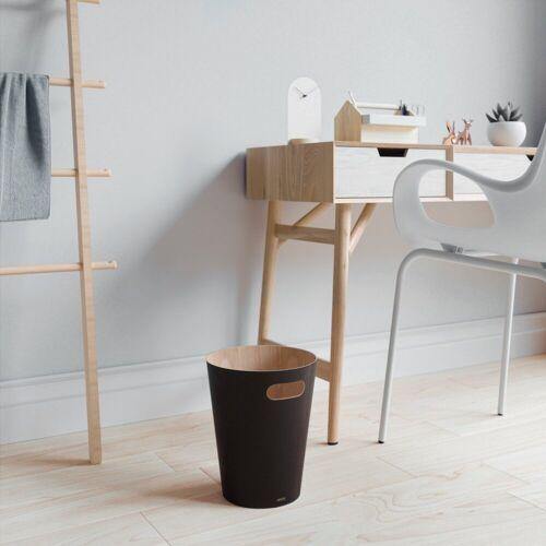 Umbra Papierkorb »Papierkorb WOODROW«, Durchmesser Boden ca. 16 cm, schwarz-natur