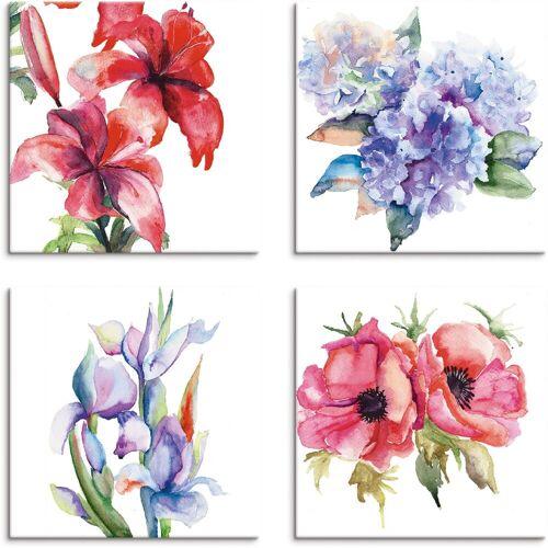 Artland Leinwandbild »Lilien Mohnblumen Iris Hortensien«, Blumen (4 Stück)