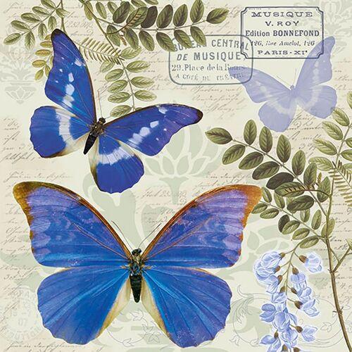 Ambiente Papierserviette »Nostalgie Schmetterlinge«, (5 St), 33 cm x 33 cm