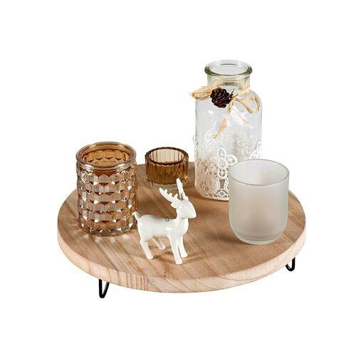 HTI-Living Kerzenhalter »Kerzenhalter Holz Glas mit Holztablett«