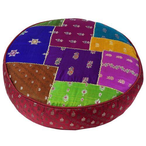Guru-Shop Sitzkissen »Orientalisches rundes Patchwork Kissen 40 cm,..«, rot/patchwork