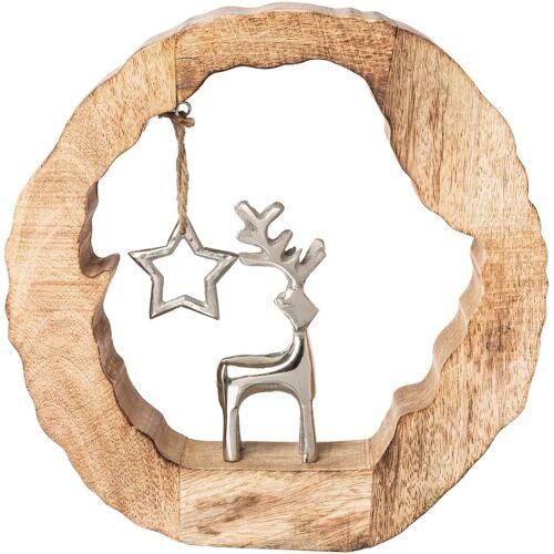 Dekoobjekt »Holzstamm mit Hirsch und Stern«, Höhe ca. 28 cm