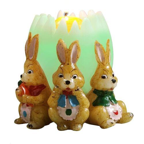 JOKA international LED-Kerze »Regenbogenkerze Osterei mit 3 Hasen, Kerzenschein zu Ostern, Ø 14 x 14 cm, 12201«, Farbwechsel Kerze