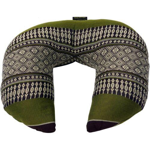 Guru-Shop Sitzkissen »Nackenkissen, halbrunde Thai Nackenstütze,..«, grün/grau