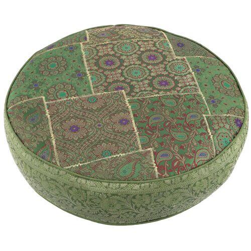 Guru-Shop Sitzkissen »Orientalisches rundes Patchwork Kissen 50 cm,..«, grün