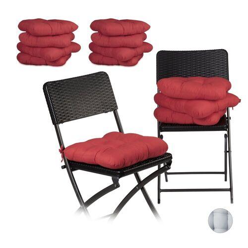 relaxdays Stuhlkissen »12 x Stuhlkissen rot«