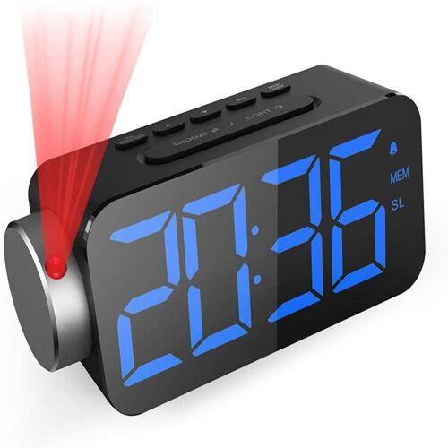 GlobaLink Projektionswecker Projektionswecker [6.5 Zoll LED-Anzeige] Digital Wecker Projektionsuhr mit Snooze-Funktion FM Radio USB-Anschluss (Blau) und 3 Helligkeit Rote Projektion Ziffer 180° Projektionsanzeige