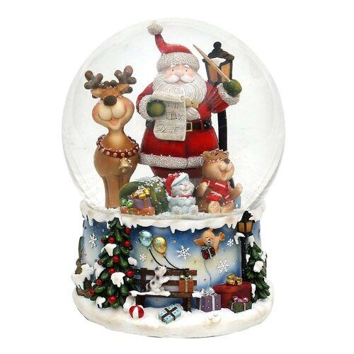 SIGRO Schneekugel »Schneekugel XXL Santa mit lustigem Elch«