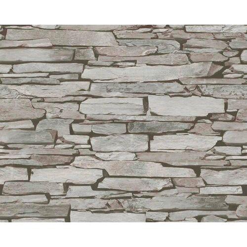 living walls LIVINGWALLS Satintapete »Authentic Walls Naturstein Optik«, beige/grau/schwarz