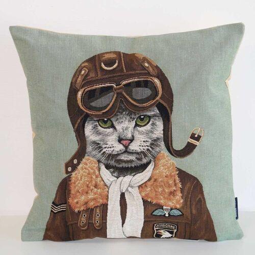 Mars & More Dekokissen »Gobelin Kissen Air-Man Katze ca. 45x45«