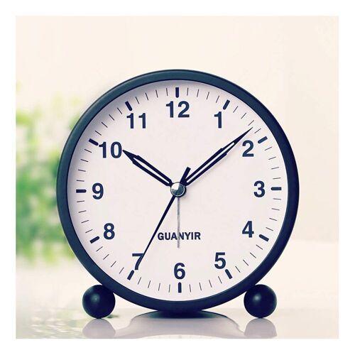 kueatily Wecker »4 Zoll Nachttisch Wecker, Silent Quartz Morgen Wecker mit Licht zum Schlafen Büro Schlafzimmer Reise Schlafzimmer Wohnzimmer Küche«, schwarz