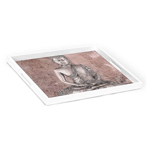 HTI-Line Tablett »Tablett Buddha«, Holz, Tablett