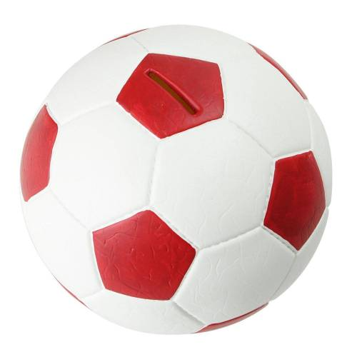 HMF Spardose »4790«, Fußball in Lederoptik, 15 cm Durchmesser, rot