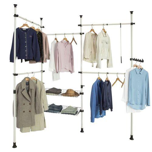 SoBuy Kleiderständer »KLS04«, Garderobenständer mit 5 Kleiderstangen und 2 Körbe verstellbares Regalsystem, beige