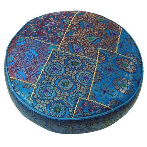 Guru-Shop Sitzkissen »Orientalisches rundes Patchwork Kissen 40 cm,..«, blau
