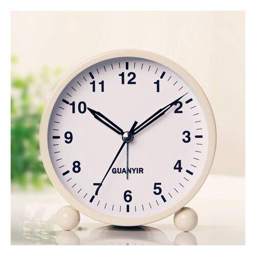 kueatily Wecker »4 Zoll Nachttisch Wecker, Silent Quartz Morgen Wecker mit Licht zum Schlafen Büro Schlafzimmer Reise Schlafzimmer Wohnzimmer Küche«, weiß