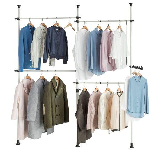 SoBuy Kleiderständer »KLS03«, Garderobenständer mit 4 Kleiderstangen Verstellbares Regalsystem, beige