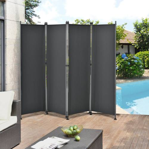 Pro-tec Standmarkise Outdoor Trennwand 170 x 215cm Paravent Grau, grau
