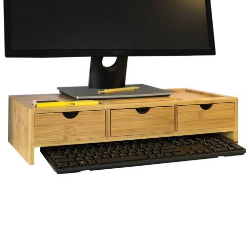 SoBuy »BBF03« Monitor-Halterung, (Monitorerhöhung Monitorständer Bildschirmständer Schreibtischaufsatz mit Fächern und 3 Schubladen Bambus)
