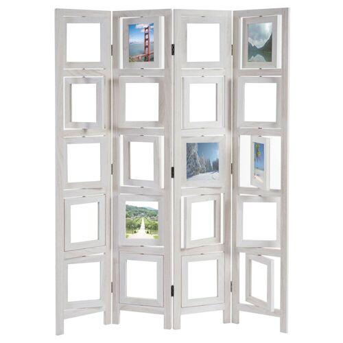 MCW Paravent »Bildgalerie II«, Fenster mit je zwei Plexiglasplatten, 4 Paneele, Mit drehbaren Fotofenstern, weiß