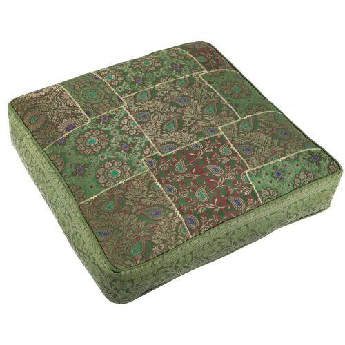 Guru-Shop Sitzkissen »Orientalisches eckiges Patchwork Kissen 50 cm,..«, grün