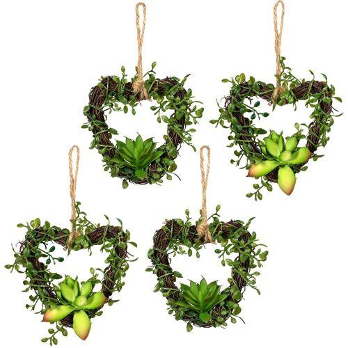 Creativ green Künstliche Zimmerpflanze »Mühlenbeckiaherzen« Sukkulente, , Höhe 12 cm, 4er Set