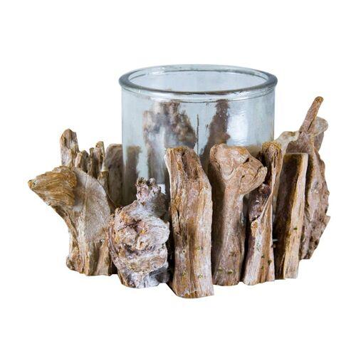 Parts4Living Windlicht »Holzbruch Windlicht mit Glaseinsatz Teelichtglas Kerzenglas 15x12 cm«