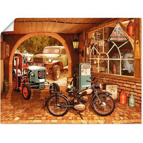 Artland Wandbild »Werkstatt mit Traktor und Motorrad«, Traktoren (1 Stück)