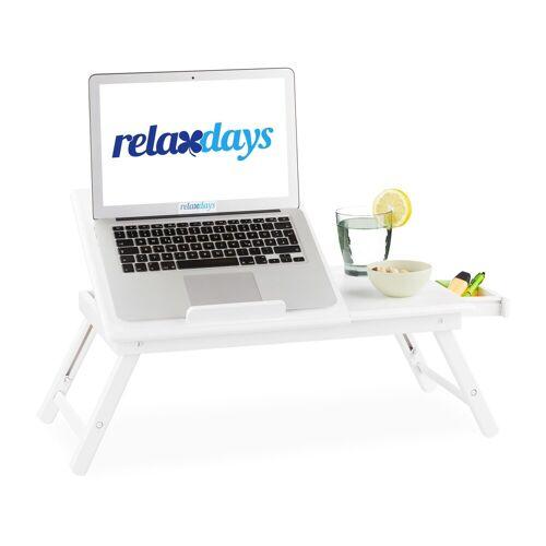 relaxdays Laptop Tablett »Bambus Laptoptisch weiß«, Bambus
