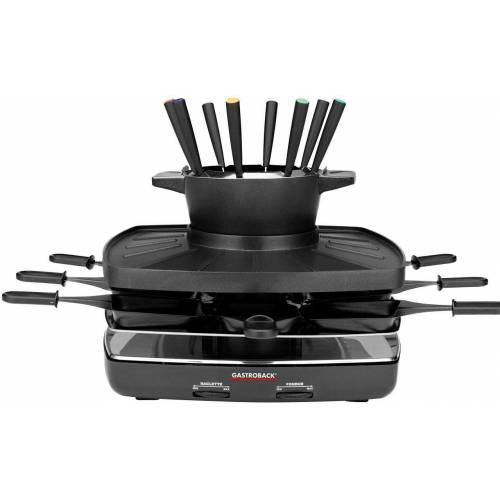 Gastroback Raclette und Fondue-Set 42567 Family and Friends, 8 Raclettepfännchen, 1200 W