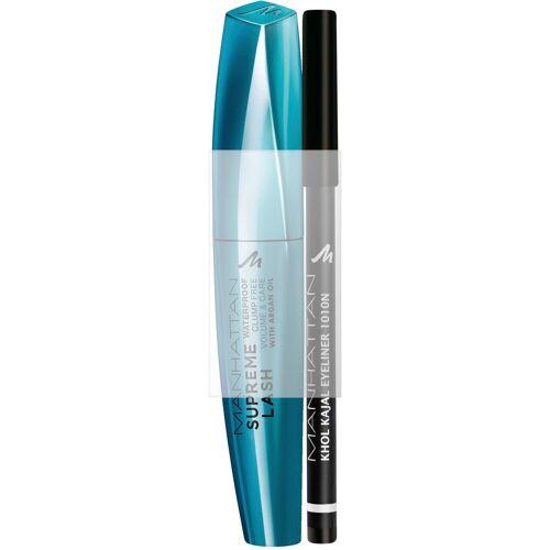MANHATTAN Augen-Make-Up-Set »Supreme Lash Waterproof Mascara + gratis Khol Kajal«, 2-tlg.