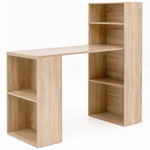 FINEBUY Schreibtisch »SuVa13499_1«, Schreibtisch mit Regal 120x120x53 cm Holz Modern Schreibtischregal Ablagefächer PC Tisch Computertisch mit Ablage Weißer Design Tisch Büro mit Aufbewahrung, Sonoma