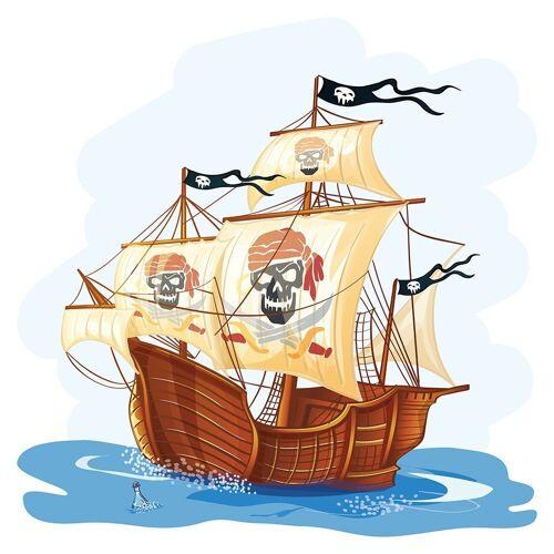 dekodino Wandtattoo »Piratenschiff mit Totenkopf Segeln« (1 Stück)