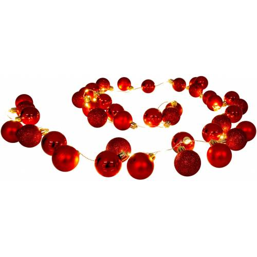näve LED-Lichterkette »LED-Outdoor-Weihnachtslichterkette l: 150cm gold«, 30-flammig, Timer, rot