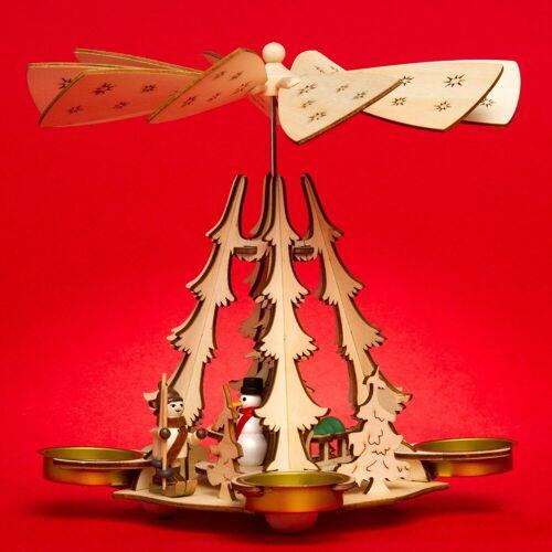 SIKORA Weihnachtspyramide »P29 Holz Teelicht Weihnachtspyramide für 4 Teelichte H: 20 cm«