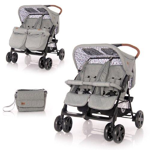 Lorelli Zwillingswagen »Zwillingskinderwagen TWIN«, Wickeltasche Einhand-Klappsystem Fußabdeckung, hellgrau