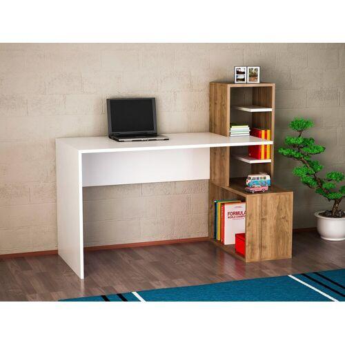 moebel17 Schreibtisch »Schreibtisch Side Weiß Walnuss«