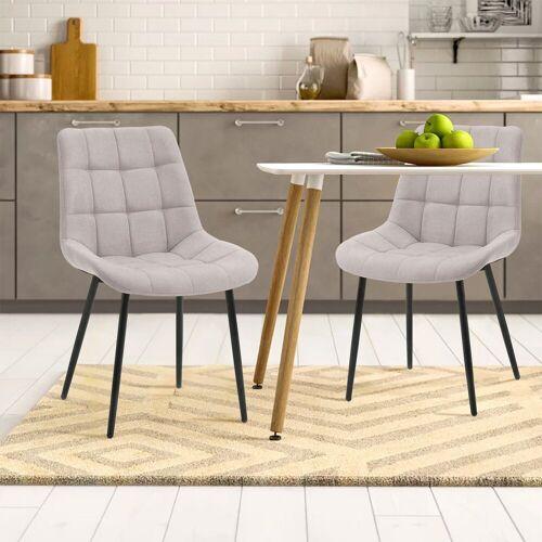Merax Polsterstuhl 2 Stk.Esszimmerstühle, Wohnzimmerstuhl Sessel Stoffkissen-Akzentstühle,Macaron-Farben, Grau