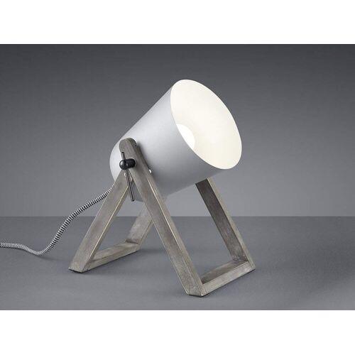 TRIO LED Tischleuchte, kleine Tisch-Lampe E27 Holz-fuß & Metall Lampen-Schirm für Wohnzimmer, Fensterbank, Schlafzimmer, Schreibtisch, Grau