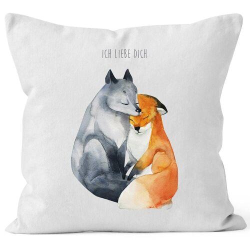 MoonWorks Dekokissen »Kissen-Bezug Ich liebe dich Fuchs Geschenk Liebe Spruch Kissen-Hülle Deko-Kissen Baumwolle ®«, weiß