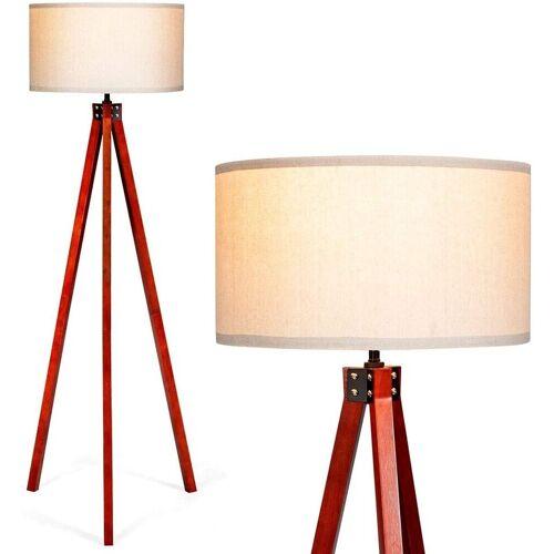 COSTWAY Stehlampe »Stehleuchte Stehlampe«, weiß + Rotholz