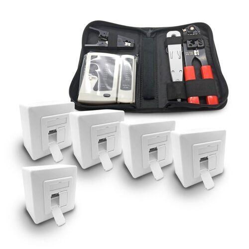 ARLI Netzwerk-Adapter, 5x Cat6a Netzwerkdose 2 Port + Werkzeugset / Crimpzange Rj45 + Tester + LSA + Kabelmesser Werkzeug Set